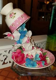How to Make a Cascading Flower Fountain using Old Teacups