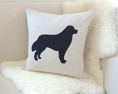 Bernese Mountain Dog Pillow Cover, Custom Colors, Flax & Black Berner Dog Silhouette Appliqué - Modern Dog Decor, Gift - 18x18