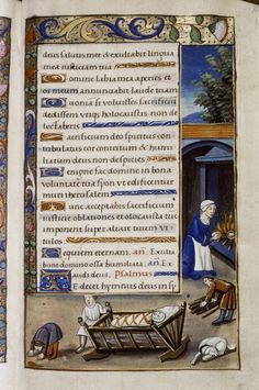 Crib and domestic scene from Oxford Bodleian Douce 276