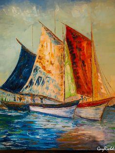 marine 1-bateaux-anciens-.jpg (Peinture),  70x70 cm par guyrichd Bateaux anciens sur toile, huile au couteau