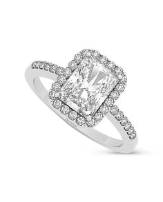 Laney - 1.95-2.70ctw Emerald Cut Forever Brilliant® Moissanite Halo Ring, 14k White, Yellow or Rose Gold