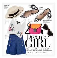 """DREAMER GIRL"" by paint-it-black ❤ liked on Polyvore featuring CO, J.Crew, Topshop, Eugenia Kim, MCM, RetroSuperFuture, amusementpark and 60secondstyle"