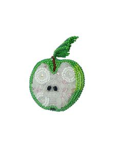 Stylish women brooch bead embroidered apple by TreasuresOfMySoul