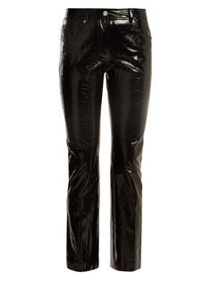 Helmut Lang Kick-flare cropped patent-leather trousers