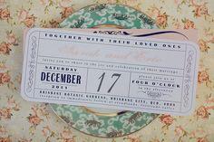 Vintage Wedding Ticket Style Invitations DIY Set (printable)