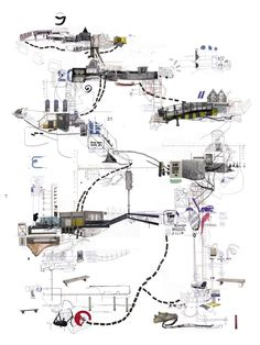 """Project by Dutch graphic designer Frank Dresmé. Called Project it used the idea of the """"transect"""" as a way to map and graphically depict pedestrian movement through urban space. Collage Architecture, Architecture Mapping, Architecture Graphics, Concept Architecture, Sustainable Architecture, Landscape Architecture, Interior Architecture, Landscape Concept, Architecture Portfolio"""