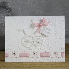 Baby Girl Greeting Card  Handmade Greeting by SilverWhiteCardShop
