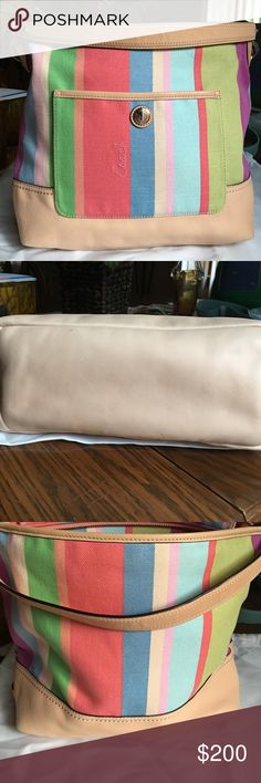 MULTI COLOR FABRIC AND LEATHER COACH... Fun summer colors!  Tan leather bottom and strap... Inside pockets as well as front pocket!  Barely used.. Comes w dust bag Coach Bags Shoulder Bags