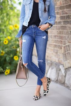 Casual weekend wear - distressed denim & leopard flats