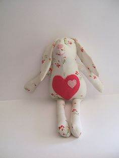 Stuffed bunny.  Soft rag bunny. Stuffed cloth  by ThePaperNeedle
