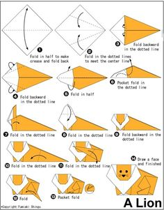 Learn to fold lion origami Origami Paper Folding, Paper Crafts Origami, Origami Art, Origami Envelope, Lion Origami, Easy Origami Animals, Kirigami, Origami Guide, Origami Videos