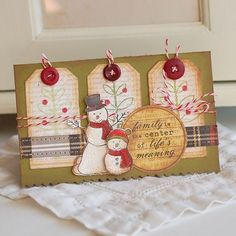 Winter card with tags