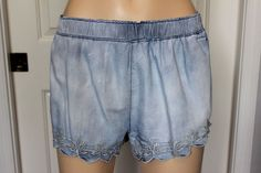 MOSSIMO Supply Co Elastic Waist Embroidered Lightweight Chambray Denim Shorts L #Mossimo #CasualShorts