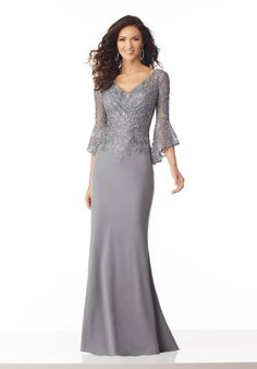 Stunning Lace & Chiffon V-neck Neckline Full-length Mermaid Mother Of The Bride . - - Stunning Lace & Chiffon V-neck Neckline Full-length Mermaid Mother Of The Bride Dress With Lace Appliques & Beadings Neckline Dress Models A Line Lace. Evening Gowns With Sleeves, Lace Evening Gowns, Mother Of The Bride Dresses Long, Mothers Dresses, Mother Bride Dress, Brides Mom Dress, Grooms Mother Dresses, Mother Of Groom Outfits, Long Mothers Dress