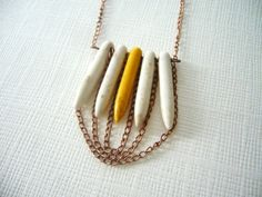 Rustic necklace in white and yellow by stavri on Etsy, $26.00