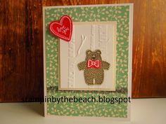 Valentines card made from Stampin Up Bear Hugs stamp set.