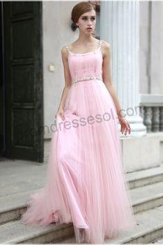 $199.99 Tiffany A-Line Pink Square-Colar Spaghetti-straps Floor-Length Organza Evening Dress-80591