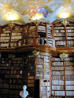 12 images of stunning bookcases, including the library of the St. Florian Monastery in Sankt Florian, Austria.