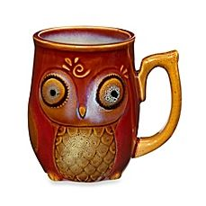 image of Gibson Home Nature's Owl 12-Ounce Mug in Red