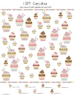 """I SPY"" Cupcakes Printable (free; from School Time Snippets)"