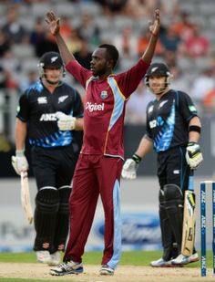 Nikita Miller celebrates with a straight face after dismissing Jesse Ryder, New Zealand v West Indies, 1st T20, Auckland, January 11, 2014