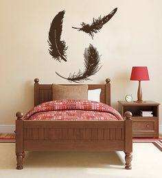 Bird Feather Wall Decals - Wall Vinyl Decal - Interior Home Decor - Housewares Art Vinyl Sticker L572