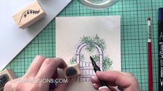 Wooden Gate watercolor from Art Impressions, stunning scene and easy directions! Art Impressions Stamps, Wooden Gates, Colouring Techniques, Pen And Watercolor, Mini Scrapbook Albums, Watercolour Tutorials, Art Tutorials, Cardmaking, Anna Griffin