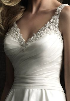 Detail of the Swarvoski crystal beading top with embroidery and ruching. Dress: 8953 by Allure Bridals