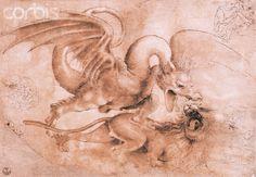 Fight Between a Dragon and a Lion by Leonardo da Vinci