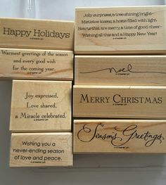 Stampin' Up *MANY MERRY MESSAGES* 8 pc Mounted Rubber Stamp Set. Retired. EUC. | Crafts, Stamping & Embossing, Stamps | eBay! Happy Holidays Wishes, Holiday Wishes, Good Cheer, Mistletoe, Happy New Year, Stampin Up, Merry, Joy, Messages