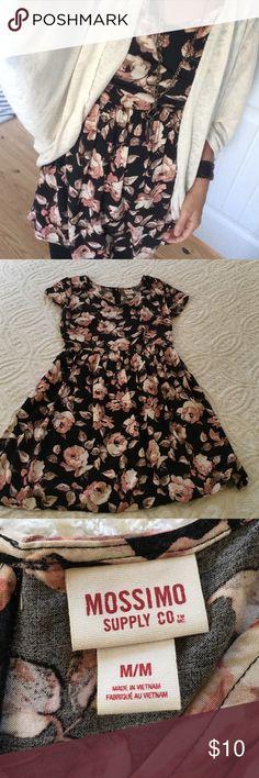 Mossimo dress Black floral dress 100% Rayon Dresses Mini