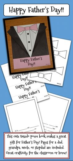 "This creative tuxedo poem book makes a perfect gift for Father's Day! It includes a cute, personalized eight-page poem with ""fill-in-the-blanks"" for the children. Dads will love reading what their kids write about them and seeing their drawings as well. All the blacklines for the tuxedo cover are included, as well as poem pages for a stepdad, a grandpa, and an uncle. Please visit my store to see my matching Mother's Day poem book! Fathers Day Poems, Fathers Day Crafts, Mother And Father, Happy Father, Holiday Themes, Holiday Ideas, Crafts For Kids To Make, Art For Kids, Teaching Resources"