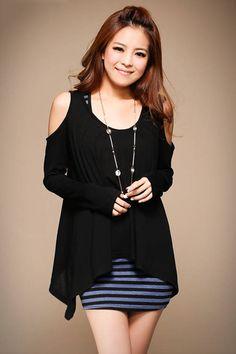 Grand Cut-out Shoulder Long Sleeve Swallowtail Hem Women T-shirt Black - BuyTrends.com