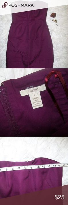 J Crew Purple Jewel Tone Strapless Mini Dress J Crew Purple Jewel Tone Strapless Body Con Mini Dress Size 2. Item is in beautiful shape with no blemishes. Lined and zips up the back. Boning along the sides of the bust. See pic for measurements. Check out my store for more items. Will consider all offers. J. Crew Dresses Mini