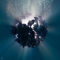 Sinking minerals. Don't let the light vanish.  500 followers. Thank you. Shop for artworks @ http://ift.tt/1UoMLU8 will open very soon.  #3d #render #design #art #abyss #sea #c4d #cycles #purplelight #sinking #crystals #minerals #gems #citrine #picoftheday #illumination #light #rsa_graphics #liferemixed #cyclesrender #underwater #holistic by kara.cey