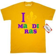 Inktastic I Love Mardi Gras T-Shirt Heart Fluer De Lis Fleur-de-lis Fat Tuesday New Orleans Pinkinkartkids Cinco Mayo Mens Adult Clothing Apparel Tees T-shirts, Size: XL, Gold