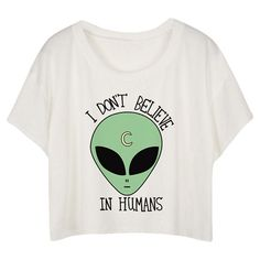 White Loose Alien Printed Ladies T-shirt (26 BRL) ❤ liked on Polyvore featuring tops, t-shirts, shirts, crop tops, white, tee-shirt, white shirt, loose fit t shirts, loose white shirt and crop t shirt