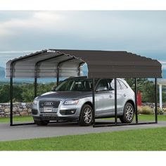 Our Arrow carports are manufactured in the USA with a 10 year warranty, 100 MPH wind load, and 35 PSF snow load. Carport Adossé, Carport Canopy, All Steel Carports, Carport Aluminium, Painting Galvanized Steel, Roof Eaves, Construction Area, Tent Reviews, Building Systems
