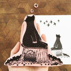 Looking at the sky handmade original of a bear handprinted Linolium, Stencil, Lino Art, Stamp Carving, Bear Illustration, Handmade Stamps, Illustrator, Tampons, Linocut Prints
