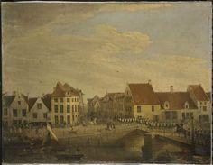 Zicht vanop de Werf (ongeveer waar nu Fortis staat) richting Veerstraat te Dendermonde; links de Schelstraat (Frans Courtenslaan) en rechts het begin van de Kasteelstraat. Het grote huis rechts op de hoek: café 't Peirt in 1820. De soldaten die over de brug trekken zijn van het Hollandse garnizoen. In het Rijksmuseum te Amsterdam.