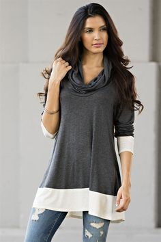 dac69162582357 Weekender Collection Cowl Neck Tunic T Shirt Top Relax Fit Charcoal Ivory S  M L