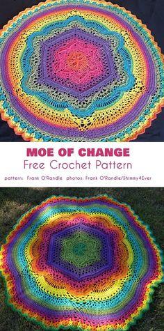 Moe of Change Baby Blanket Free Crochet Pattern - Virka Ideer Crochet Afghans, Baby Blanket Crochet, Crochet Baby, Knit Crochet, Crochet Summer, Crochet Gratis, Crochet Geek, Free Crochet, Crochet Mandala Pattern