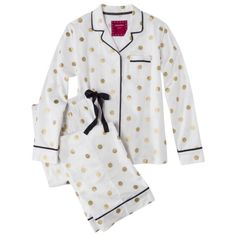 white flannel pajamas with gold polka dots...I think I'll add a monogram to the pocket.