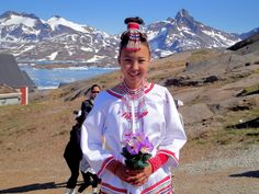 East Greenland girl outside the church in Tasiilaq