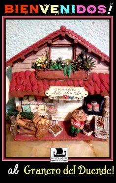 """En """"El granero del duende podrás encontrar de todo: leña, cookies de chocolate, miel,frascos y mil detalles. Todo realizado a mano! Escultura única."""