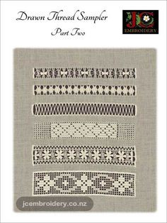 Drawn Thread Sampler – Part 2 Hardanger Embroidery, Embroidery Art, Embroidery Patterns, Drawn Thread, Thread Work, Mini Christmas Stockings, Needle Case, New Bands, Collar And Cuff