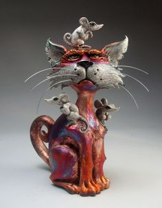 Raku Cat with Mice folk art pottery sculpture by face jug maker Mitchell Grafton