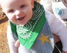 Sheriff Cowboy Bib Baby Recycled Jeans Western Denim - Green Bandana