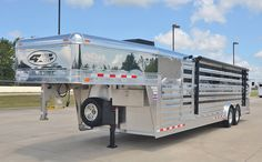 4-Star 28' Show Cattle trailer custom ordered with polished slats, stainless steel nose/ ramp/ door, hydraulic jack, WERM Flooring, Tie rails inside and out, Optronix LED interior lighting, EZ Lift side ramp, and Plexiglass. 800.848.3095