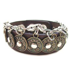 Rock  Punk Style Brown  Leather with Coin Pendant Women Leather Cuff Bracelet  SL0346-BR